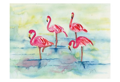 Sunset Flamingoes II Poster by Beverly Dyer for $22.50 CAD
