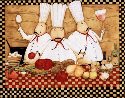 3 Chefs at Work Poster by Dan Dipaolo for $11.25 CAD