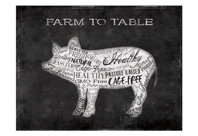 Farm To Table Pig Poster by Jace Grey for $22.50 CAD