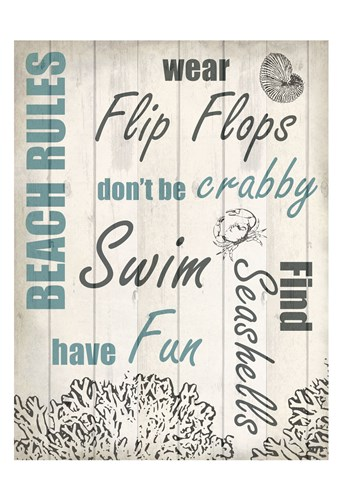 Beach Rules 2 Poster by Kimberly Allen for $22.50 CAD