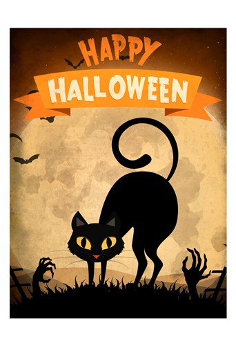 Happy Halloween Black Cat Poster by Kimberly Allen for $22.50 CAD