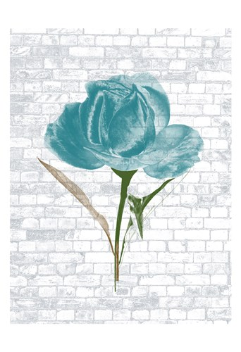 Blue Brick Floral 2 Poster by Sheldon Lewis for $22.50 CAD