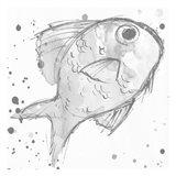 Minimal Sketch Fish Grey