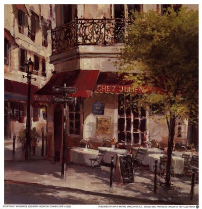 Corner Caf Poster by Brent Heighton for $10.00 CAD