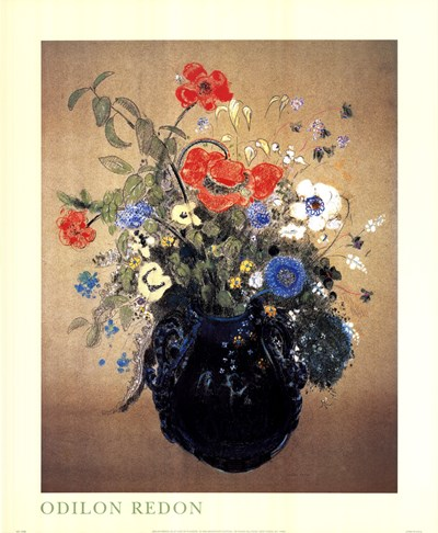 Blue Vase of Flowers Poster by Odilon Redon for $31.25 CAD