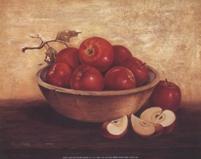 Apples In Wood Bowl Poster by Peggy Thatch Sibley for $7.50 CAD