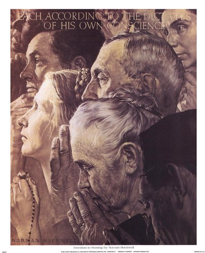 Freedom to Worship Poster by Norman Rockwell for $22.50 CAD