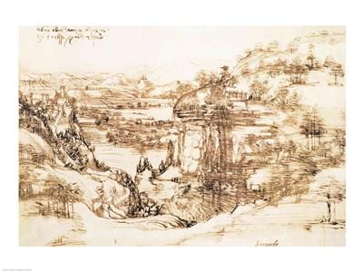 Arno Landscape, 5th August, 1473 Poster by Leonardo Da Vinci for $30.00 CAD