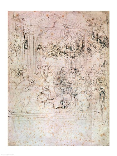 Composition sketch for The Adoration of the Magi, 1481 Poster by Leonardo Da Vinci for $32.50 CAD