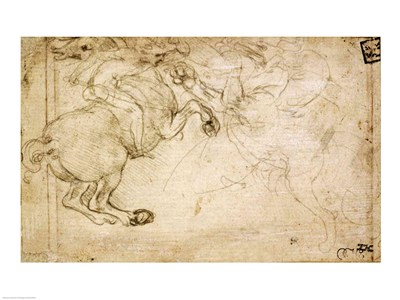 A Horseman in Combat with a Griffin Poster by Leonardo Da Vinci for $30.00 CAD