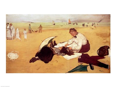 Beach scene: little girl having her hair combed by her nanny Poster by Edgar Degas for $30.00 CAD