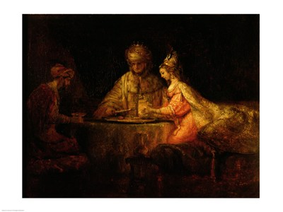 Ahasuerus (Xerxes), Haman and Esther, c.1660 Poster by Rembrandt van Rijn for $30.00 CAD