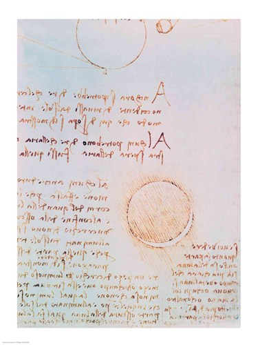 Detail from Study of the Illumination of the Moon 2r from Codex Leicester Poster by Leonardo Da Vinci for $32.50 CAD