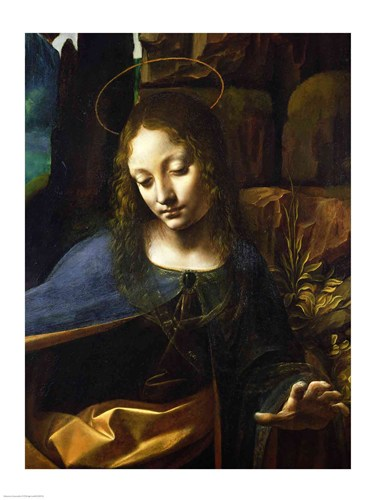 Detail of the Head of the Virgin, from The Virgin of the Rocks Poster by Leonardo Da Vinci for $30.00 CAD
