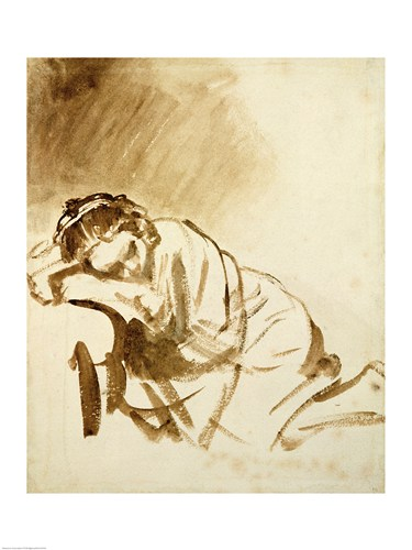 A Young Woman Sleeping Poster by Rembrandt van Rijn for $30.00 CAD