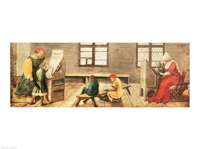 A School Teacher is Explaining the Meaning of a Letter to Illiterate Workers 1516 Poster by Hans Holbein for $30.00 CAD