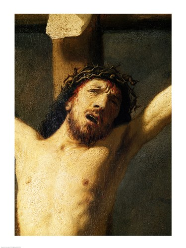 Christ on the Cross, detail of the head Poster by Rembrandt van Rijn for $30.00 CAD