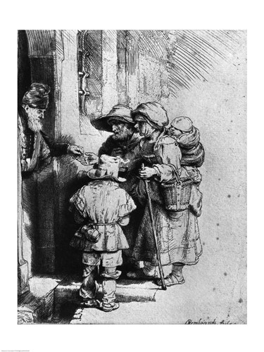 Beggars on the Doorstep of a House, 1648 Poster by Rembrandt van Rijn for $30.00 CAD