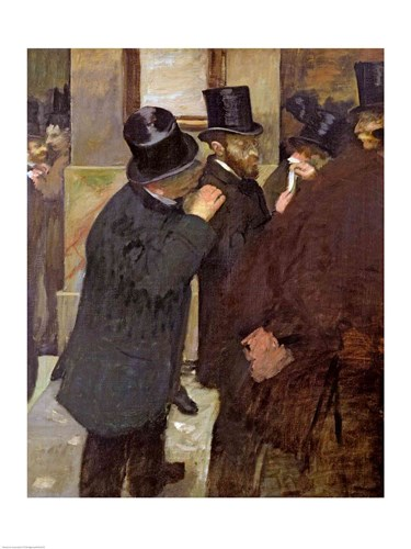 At the Stock Exchange Poster by Edgar Degas for $32.50 CAD