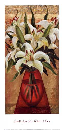White Lilies Poster by Shelly Bartek for $27.50 CAD