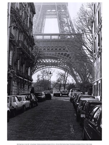 Street View of La Tour Eiffel Poster by Clay Davidson for $16.25 CAD