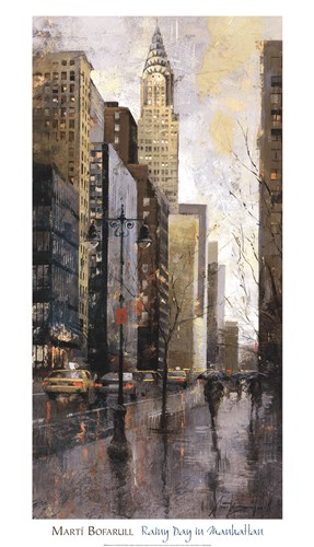 Rainy Day In Manhatten Poster by Marti Bofarull for $58.75 CAD