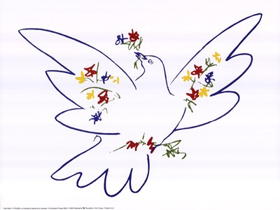 Dove with Flowers Poster by Pablo Picasso for $20.00 CAD