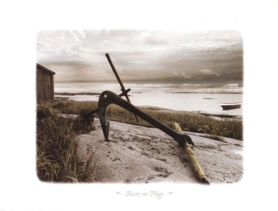 Ancre Sur Plage Poster by Joane Mcdermott for $26.25 CAD