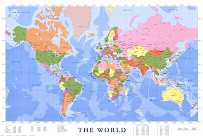 Map of The World (mercator projection) Poster by Unknown for $26.25 CAD