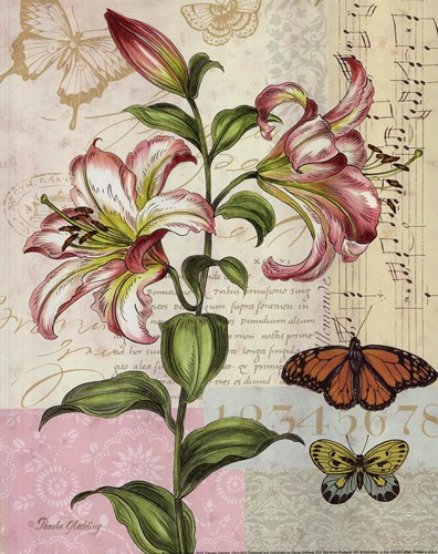 Oripet Lily Collage Poster by Pamela Gladding for $12.50 CAD