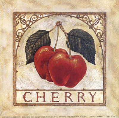 Fancy Cherry Poster by Richard Henson for $11.25 CAD