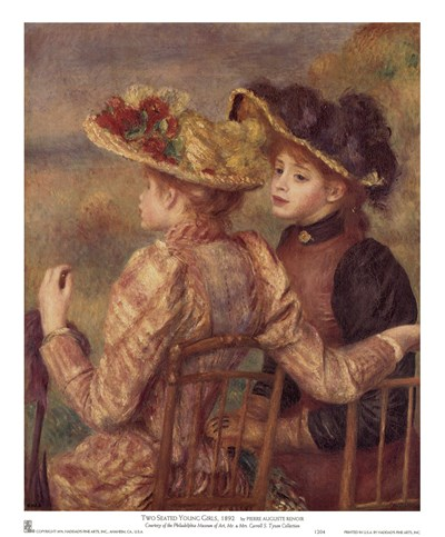 Two Seated Young Girls Poster by Pierre-Auguste Renoir for $11.25 CAD