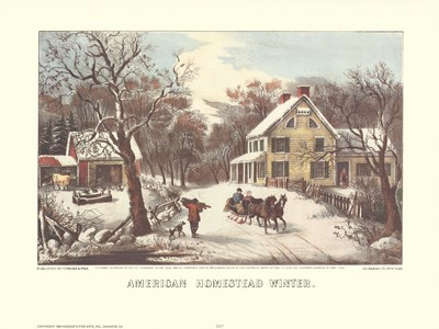 American Homestead Winter Poster by Currier and Ives for $21.25 CAD