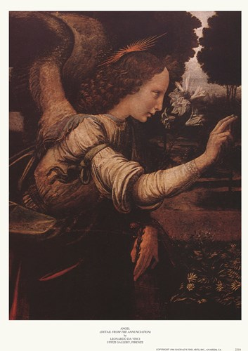 Angel (Detail from The Annunciation) Poster by Leonardo Da Vinci for $21.25 CAD