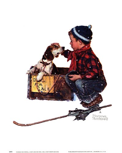 A Boy Meets His Dog Poster by Norman Rockwell for $11.25 CAD
