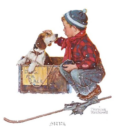 A Boy Meets His Dog Poster by Norman Rockwell for $21.25 CAD