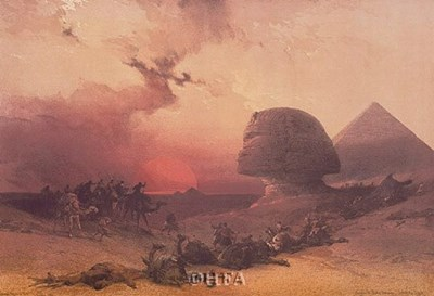 Approach of the Simoon, Desert of Gizeh Poster by David Roberts for $25.00 CAD