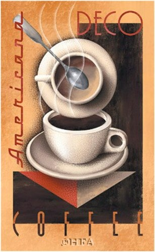 Americana Deco Coffee Poster by Michael Kungl for $48.75 CAD