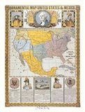 Ornamental Map/United States and Mexico