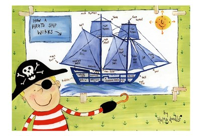 How a Pirate Ship Works Poster by Helen Doodle for $41.25 CAD