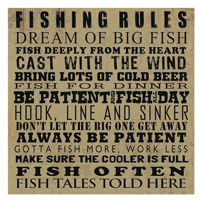 Fishing Rules Poster by Jim Baldwin for $58.75 CAD
