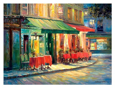 Red & Green Cafe Poster by Haixia Liu for $78.75 CAD