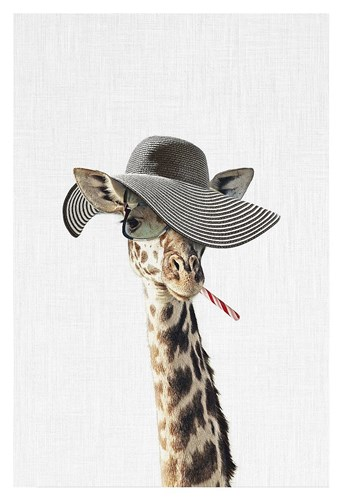 Giraffe Dressed in a Hat Poster by Tai Prints for $85.00 CAD