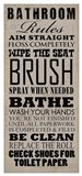 Bathroom Rules (Black on Beige)