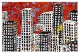 Red, Black and White Cityscape