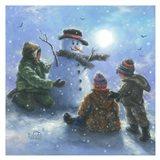 Snowman and 3 Boys