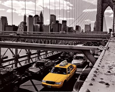 Yellow Cab on Brooklyn Bridge Poster by Henri Silberman for $21.25 CAD
