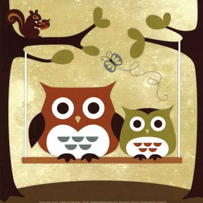 Two Owls on Swing Poster by Nancy Lee for $18.75 CAD