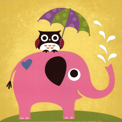 Elephant and Owl with Umbrella Poster by Nancy Lee for $18.75 CAD