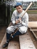 Babe Ruth Sitting on Top Step